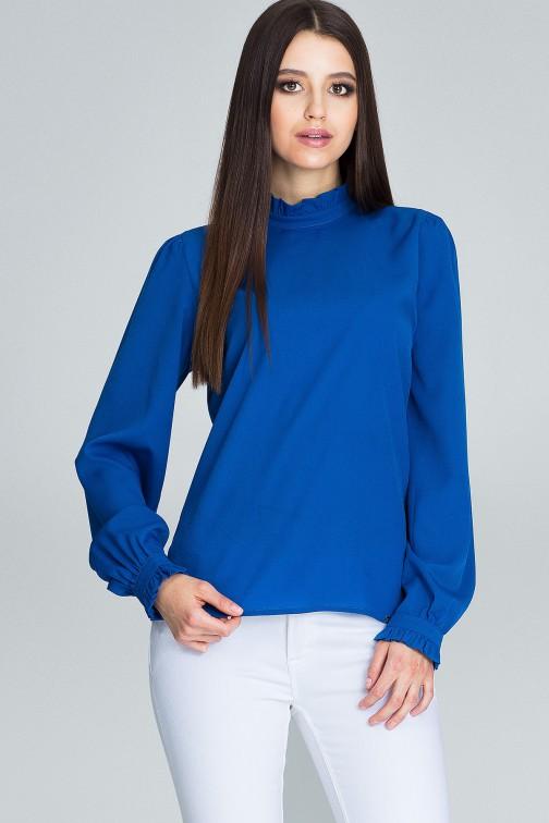 CM3661 Elegancka bluzka z marszczonymi rękawami - niebieska