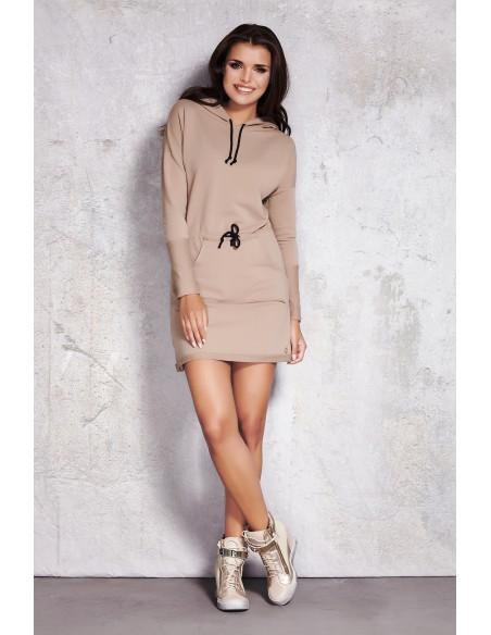 Sukienka z kapturem i kieszenią typu kangurek - beżowa