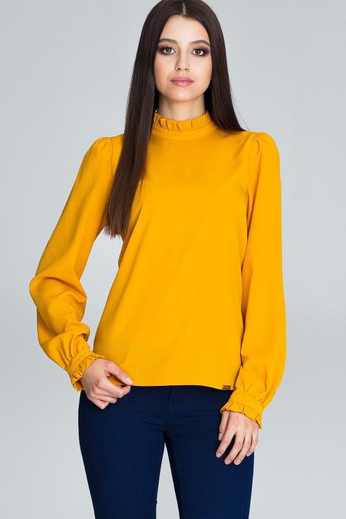 CM3661 Elegancka bluzka z marszczonymi rękawami - musztardowa