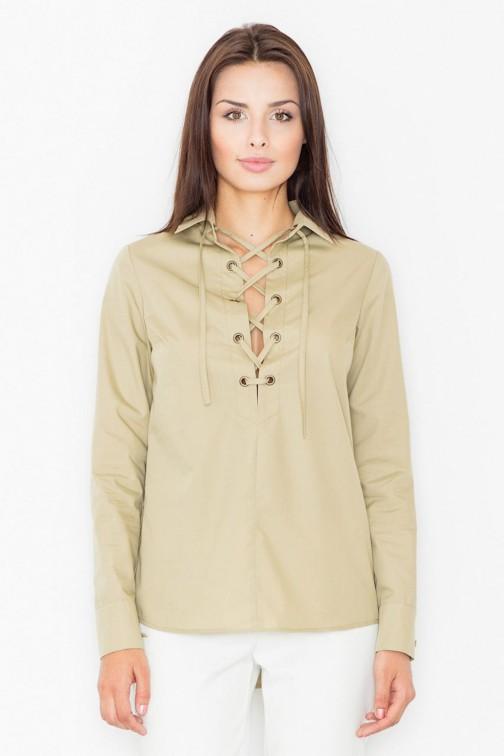 CM2536 Ekstrawagancka bluzka ze sznurowanym dekoltem - oliwkowa