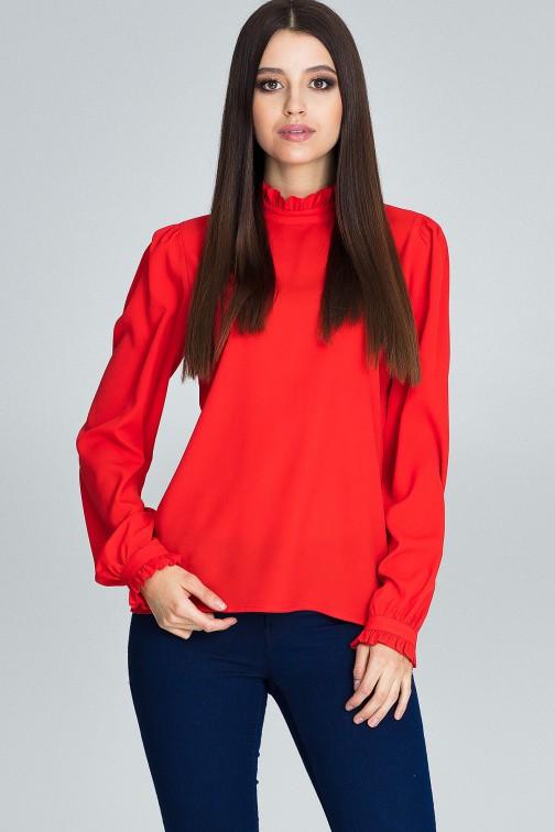 CM3661 Elegancka bluzka z marszczonymi rękawami - czerwona
