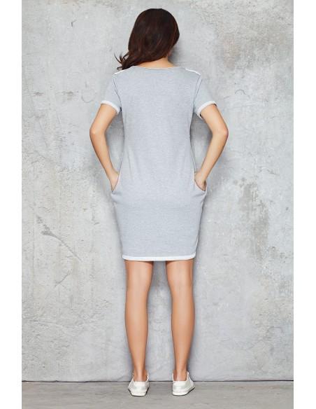 Dresowa sukienka-tunika przed kolano - szara