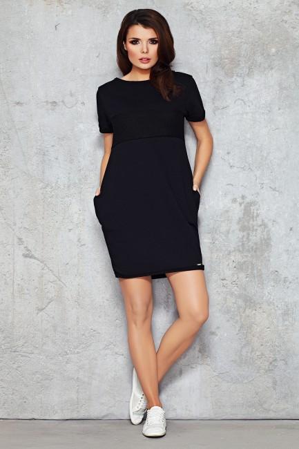 Dresowa sukienka-tunika przed kolano - czarna