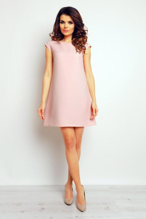 CM2370 Gładka sukienka trapezowa mini - pudrowy róż