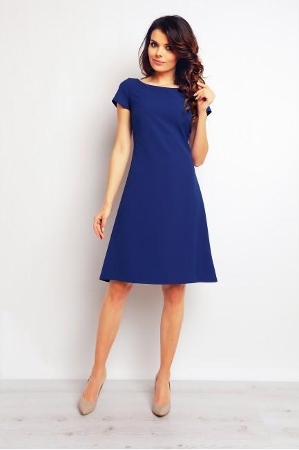 Trapezowa stylowa sukienka midi - niebieska