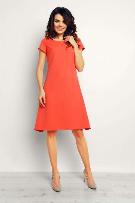 Trapezowa stylowa sukienka midi - koralowa