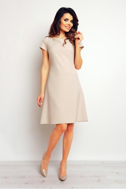 Trapezowa stylowa sukienka midi - beżowa