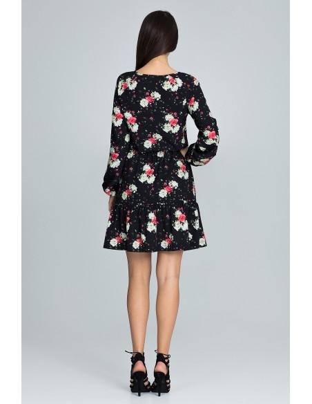 Zwiewna sukienka mini z paskiem - wzór 75