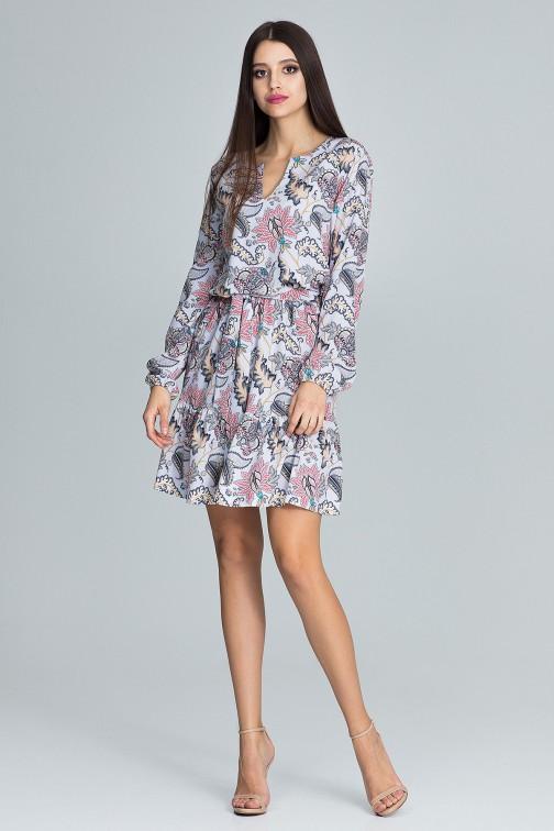 CM3663 Zwiewna sukienka mini z paskiem - wzór 79