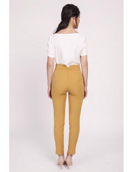 Klasyczne spodnie biurowe - musztardowe