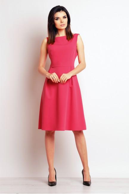 Biurowa sukienka bez rękawów - różowa