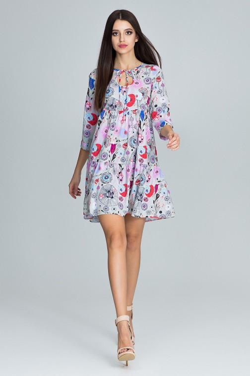 CM3664 Trapezowa sukienka z rękawem 3/4 - wzór 73