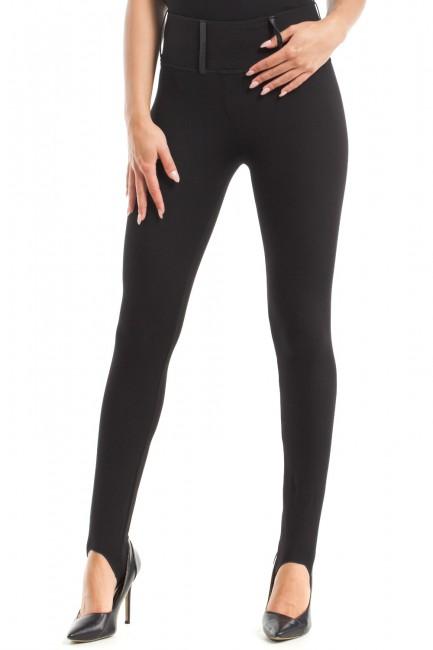 Eleganckie dopasowane gładkie legginsy - czarne
