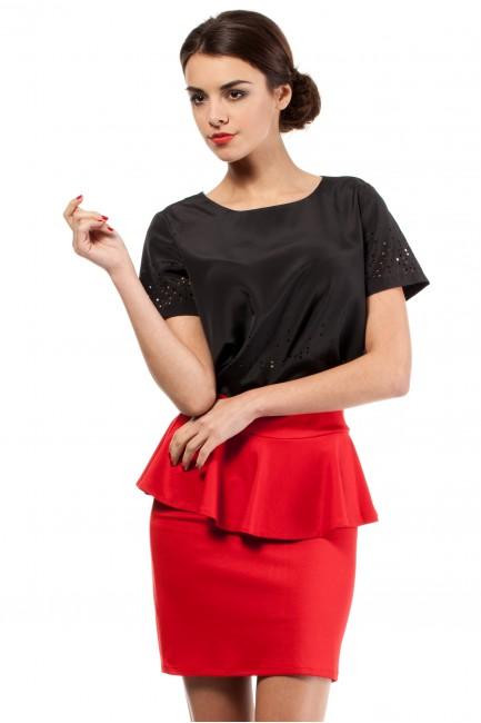 Spódniczka ołówkowa z baskinką - czerwona
