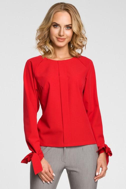 CM3101 Bluzka z plisą i wiązanymi mankietami - czerwona