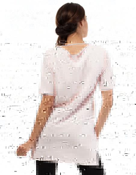 Elegancka bluza tunika kieszeń - pudrowa