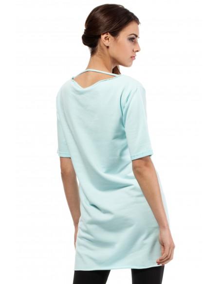 Elegancka bluza tunika kieszeń - miętowa