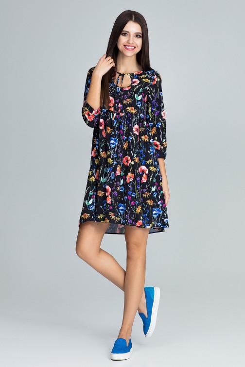 Trapezowa sukienka z rękawem 3/4 - wzór 77