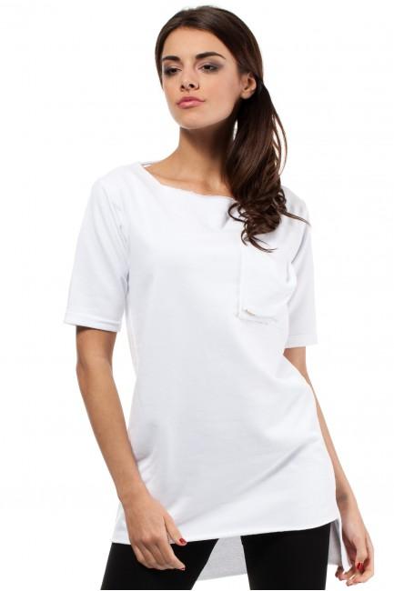 Elegancka bluza tunika kieszeń - biała