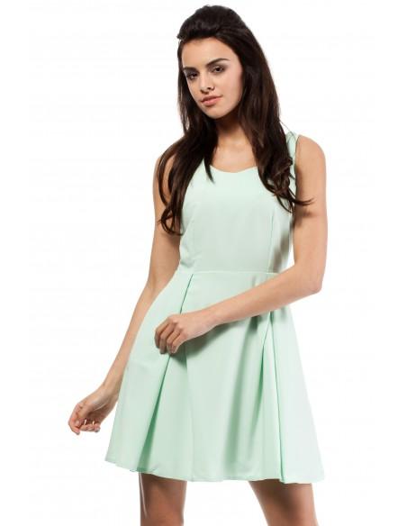 Sukienka kontrafałda z dekoltem - miętowa