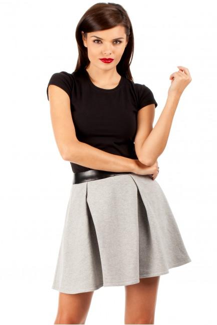 Dzianinowa spódniczka spódnica zakładka - szara