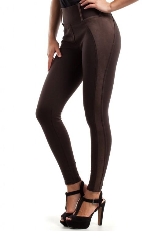 Szykowne spodnie z zamszową wstawką - brązowe