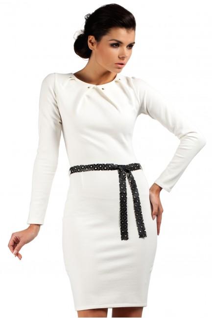 Sukienka ołówkowa z ćwiekami - ecru