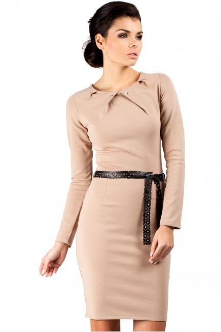 Sukienka ołówkowa z ćwiekami - cappuccino