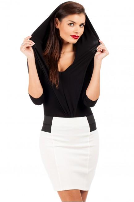 Eleganckie body bluzka z kapturem - czarne
