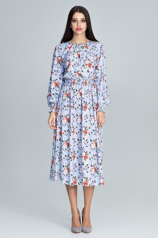 CM3666 Długa sukienka z gumką w pasie - wzór 76