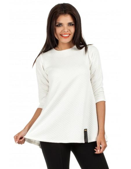 Pikowana tunika bluzka damska z długimi rękawami - ecru