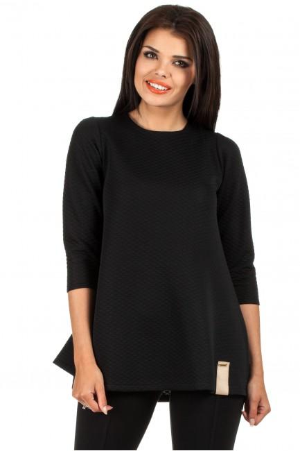 Pikowana tunika bluzka damska z długimi rękawami - czarna