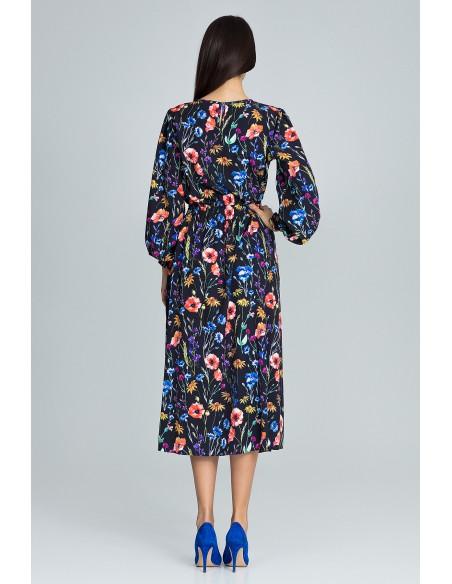 Długa sukienka z gumką w pasie - wzór 77