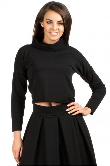 Krótka sportowa bluza z golfem - czarna