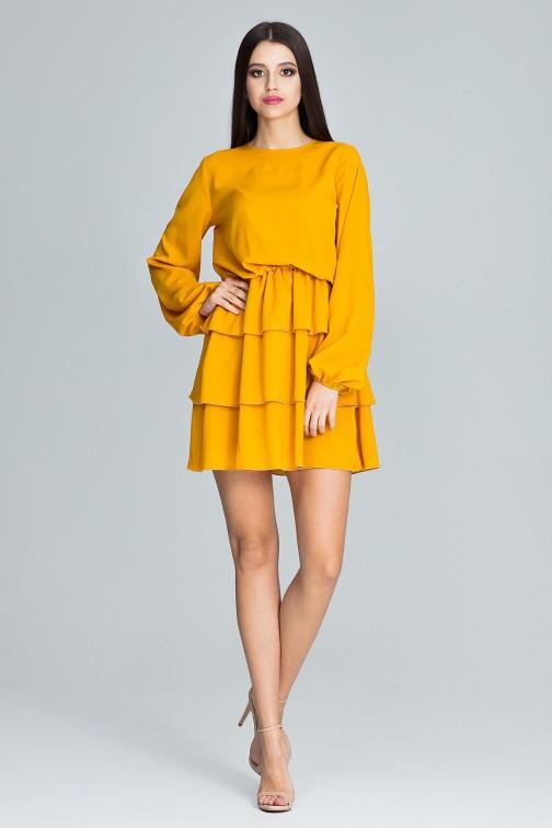 CM3667 Sukienka z marszczeniami i falbanami - musztardowa