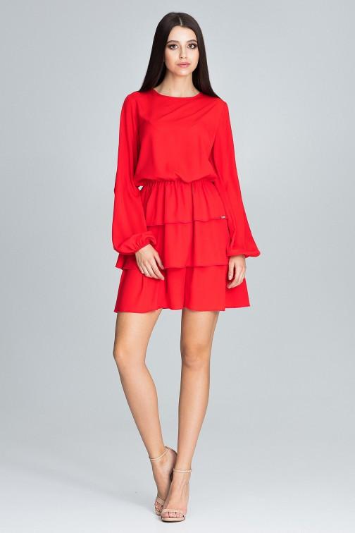 CM3667 Sukienka z marszczeniami i falbanami - czerwona