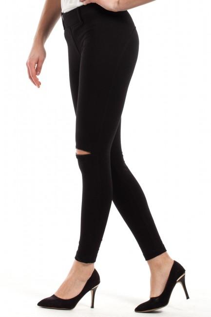 Modne spodnie damskie z zamkami - czarne