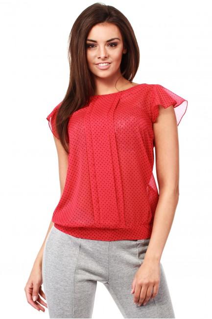 Zwiewna bluzka w kropeczki z krótkim rękawem - czerwona