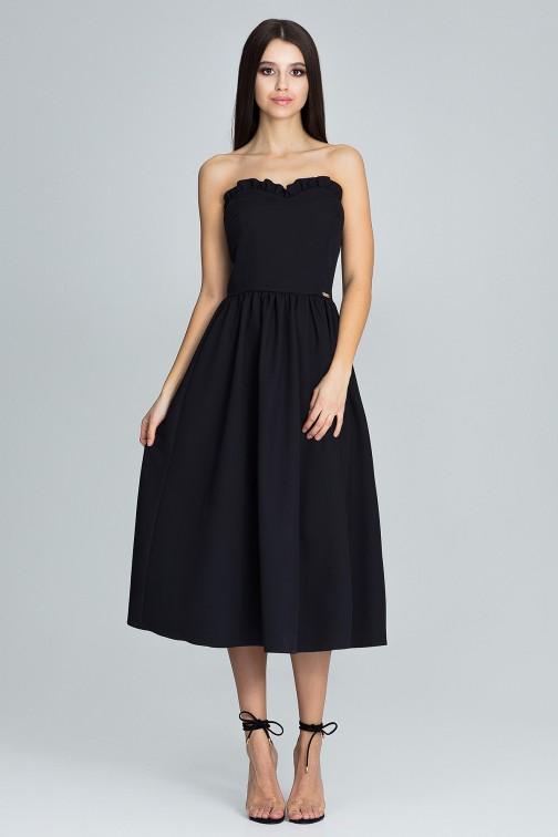 CM3668 Elegancka sukienka bez rękawów - czarna