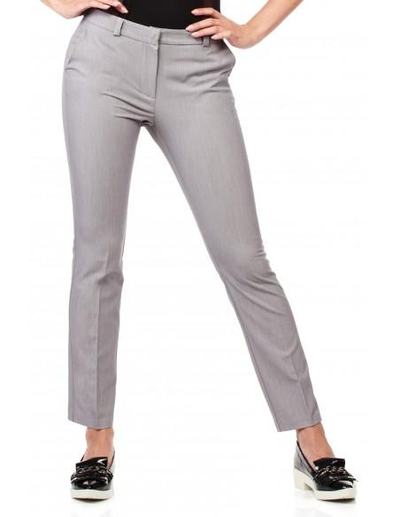 Eleganckie spodnie damskie na kant z ozdobnymi zameczkami na kieszeniach - szare