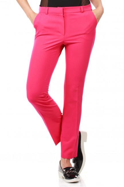 Eleganckie spodnie damskie na kant z ozdobnymi zameczkami na kieszeniach - różowe