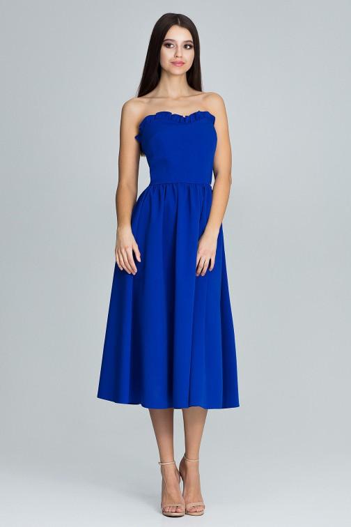 CM3668 Elegancka sukienka bez rękawów - niebieska