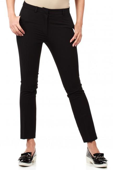 Eleganckie spodnie damskie na kant z ozdobnymi zameczkami na kieszeniach - czarne