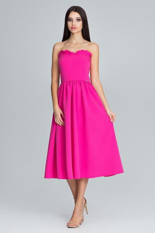 CM3668 Elegancka sukienka bez rękawów - fuksja