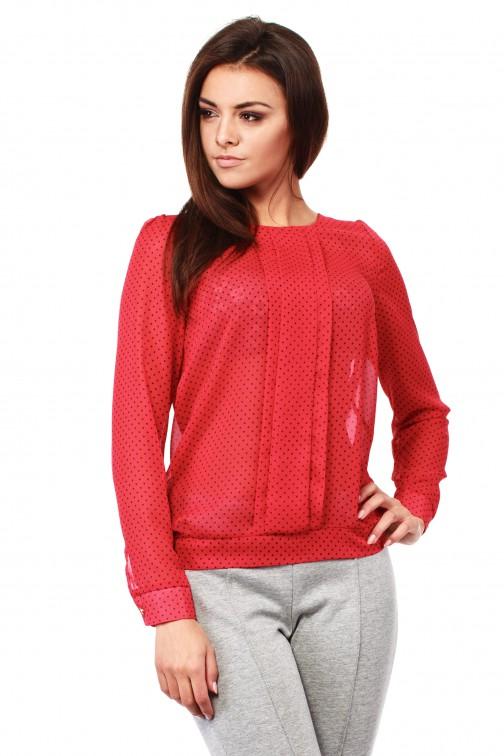 CM1009 Szyfonowa bluzka w kropeczki z długim rękawem - czerwona