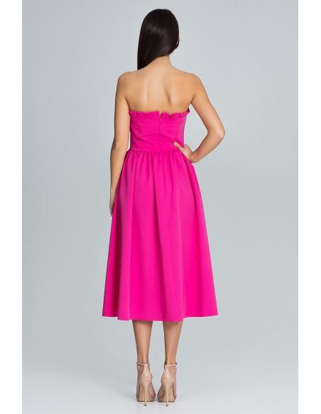 Elegancka sukienka bez rękawów - fuksja