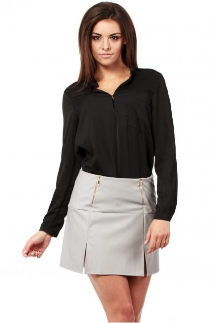 Skórzana spódniczka mini ze złotymi zamkami - szara