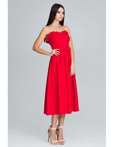 Elegancka sukienka bez rękawów - czerwona