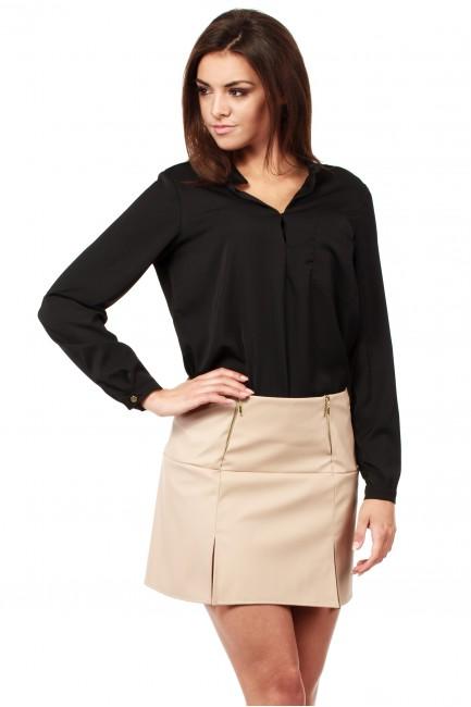 Skórzana spódniczka mini ze złotymi zamkami - beżowa