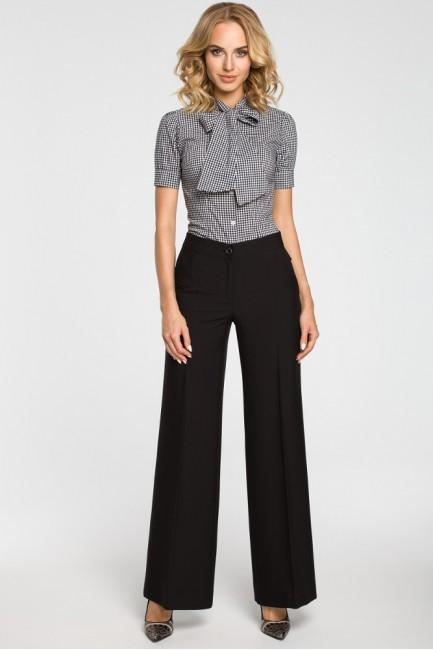 Damskie spodnie z szerokimi nogawkami - czarne